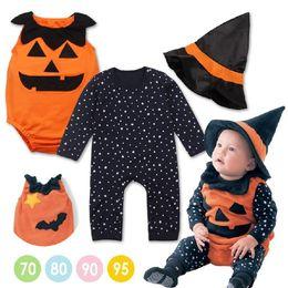 Wholesale Long Vest For Girls - ins 2 style Halloween Costume Pumpkin Baby Clothing Set 3pcs Romper+pumpkin Vest+Hat Infant Toddler Boys Girls Clothes for 0-2Y
