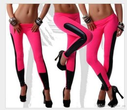 Wholesale Discount Leggings Women - Cheap Discount Fashion Women Leggings Faux leather Patchwork Jegging Pants Elastic Stretch Fitness Women Pants One Size Black Brown Red Blue