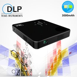 Wholesale mini hdmi projector cable - Wholesale-Portable DLP HD Projector Watch Video 300 lumens Mini Home theater Beamer Built in 3000mAh Battery without cables USB HDMI SD