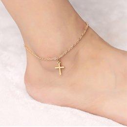 Wholesale Gold Tone Bracelet Cross - Personalized Simple Foot Chain Gold & Silver Tone Cross Ankle Bracelets Barefoot Sandals Anklets Charms Of Anklets