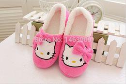 Wholesale Warm House Slippers Women - Wholesale-Winter Home Slippers For Women Cartoon Hello Kitty Indoor Shoes Warm House Shoes Plush Slippers With Bowtie Loafers Pantuflas