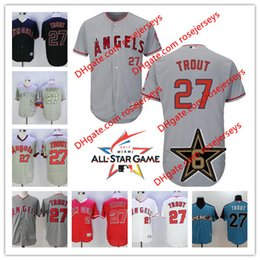 Wholesale Blue Angels - Los Angeles Angels Of Anaheim 2017 All-Star Game Worn Jersey #27 Mike Trout Gray Road White Red camo black blue Stitched baseball Jerseys