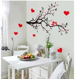 Wholesale tree wallpaper decoration - 7179 Free Shipping DIY Wall Art Decal Decoration Love Birds Tree Branches Wall Stickers Home Decor 3D Wallpaper for Living Room