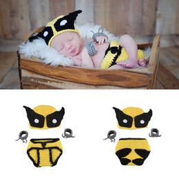 Wholesale Superhero Hats - New Arrival Crochet Wolverine Baby Set Knitted Newborn Photography Props Baby Boys Photo Prop Superhero Custome Yellow