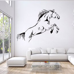 Wholesale Wholesale Horse Stickers - New Cartoon Running Horse Wall Stickers Removable Vinyl Room Decal Art Mural Home Decor free shipping