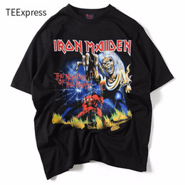 Оптовая мужская майка для мужчин онлайн-Wholesale- Fashion Summer T shirt Men Iron Maiden 3D Style Streetwear Men's T-shirt 100% Cotton Casual Short Sleeves Top Tees
