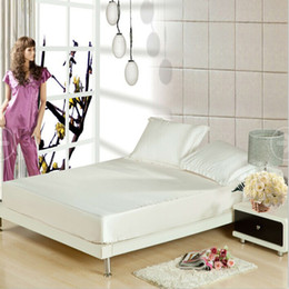 Wholesale Mattress Casing - Wholesale-Silk fitted bed sheet+pillowcase elastic mattress Cover protective case bed sheet,linen bedspread sabanas,bed linen,ropa de cama