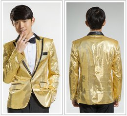Wholesale Men Clothing Wedding - Wholesale- 2016 New Stage Clothing Wedding Cloth Men Sequined Suits costume homme Slim Fit Tuxedo Fashion Male Business Prom tops plus 6XL
