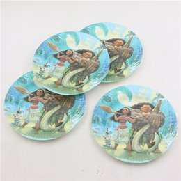 Wholesale Paper Dishes Wholesale - Wholesale- 10pcs disposable paper 7inch plates saucers cake dishes moana movie theme baby shower supplies birthday party decorations