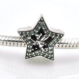 Wholesale Pandora Silver Bells - 2017 Charms 925 Sterling Silver Fairy Tinker Bell Star Green Crystals Charm Beads Fit Pandora Charms Bracelet DIY Jewelry