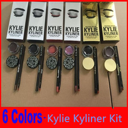 Wholesale Gel Colors Pots - kylie jenner Kyliner Cosmetics In Black Brown Dark with Eyeliner Gel pot Brush factory price ePacket free shipping