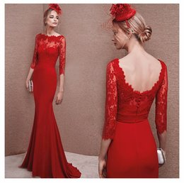 Wholesale Evening Grown Dresses - BFFA87 Printed lace grown Bridal red fashion wedding dress long sleeve evening dress Costume for host bride toast clothing