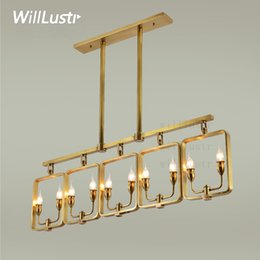 Wholesale Modern Country Pendant Lamp - Willlustr copper pendant lamp brass hanging light candle Chandelier modern suspension lighting american stylish country nordic