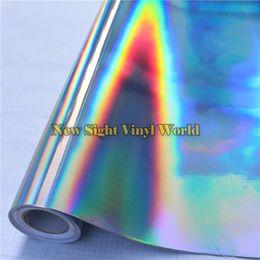 Wholesale Chrome Vehicle Wrap - Iridescent Silver Laser Chrome Vinyl Film Holographic Kaleidoscope Car Wrapping Film Bubble Free For Vehicle Wraps