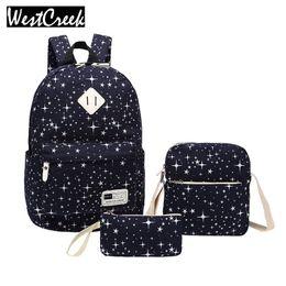 Wholesale Korean Set Phone - Wholesale- Westcreek Brand Set Female Bag Print Star Backpack Bookbag Laptop Women Canvas Schoolbag Backpacks for Teenagers