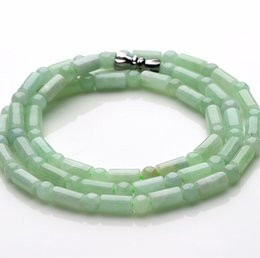 Wholesale Natural Bamboo Beads - 18 Inch Length 100% Natural Green Jade Jadeite Bamboo Beads Necklace
