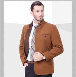 Wholesale Long Wool Coat Slim Camel - Wholesale- 2016 Latest Winter single breasted Slim Camel Wool Trench Coat For Mens England Gentleman Business Qulited Jacket Free Shipping