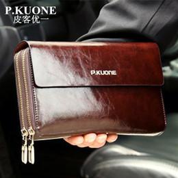 Wholesale Double Clutching - Wholesale- Hot Sale! New 2017 Luxury Shining Oil Wax Cowhide Men Clutch Bag Long Genuine Leather men wallets Double Layer Business Clutch