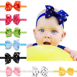 Wholesale wholesale plastic bow supplies - Brand new Children wave point bow hair hair with baby head ornaments supply TG088 mix order 30 pieces a lot