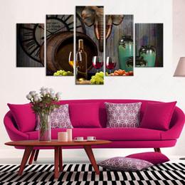 Современные картины из стекла онлайн-5 панель красное вино стеклянная бочка картины современный домашний декор холст стены искусства живопись для столовой печатных плакат картина без рамы