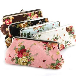 Wholesale Pink Rose Handbag - Hot Vintage Rose Flower Coin Purse Long 6 Inch Canvas Money Wallet Snap Floral Bag Key Holder Storage Pouch Clutch Handbag Christmas Gift