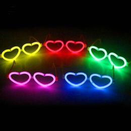 Wholesale Fluorescence Christmas Lighting - Led Fluorescence Stick Glasses Luminous Heart Shaped Christmas Decoration Celebration Festivity Ceremony Party Q0028