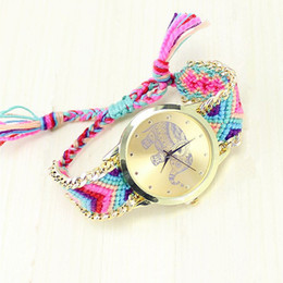 Wholesale Super Seller Wholesale - Wholesale- Super Seller Cheap Wholesale Watches Ladies Braided Rope Bracelet Watch Fashion Elephant Pattern Quartz Wristwatch 100pcs lot