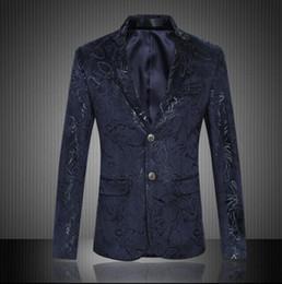 Wholesale Men Blazer Dress - 2017 New Arrive Blazer Men Fashion High Quality Dark Pattern Printing Men's Casual Fancy Suit Slim Fit Dress Suits Clothes Jacket Outerwear