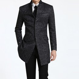 Wholesale Big Buttoned Trench Coat - Wholesale- Spring Winter Men's business Long Coats casual wool trench coat overcoat Male fashion casual jacket Big size S-9XL Dark gray
