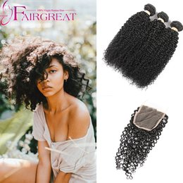 Wholesale 14 Inch 1b - 3 Bundles FAIRGREAT Kinky Curly Brazilian Virgin Hair With Closure,100% Human Hair With Closure,Natural Color 1B