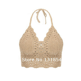 Wholesale Bikini Top Xs - Wholesale- Blusas Sexy Crochet Bikini Top Vintage Boho Bralette Halter Crop Tops Crochet Wave Trim Beach Top Coveups Fashion Women Camisole