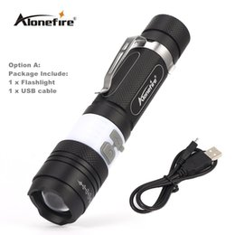 Wholesale usb zoom - AloneFire X190 COB USB LED Flashlight 18650 Zoom Torch Waterproof Flashlights XM-L T6 2000LM 3 Mode Led Zoomable Light for Hunting Camping
