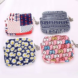 Wholesale Sanitary Napkin Cotton Pad Bag - Korean Style Cotton Sanitary Napkin Bag Organizer Storage Hold Pads Carring Bags Small Articles Gather Pouch Case With Zipper ZA2726