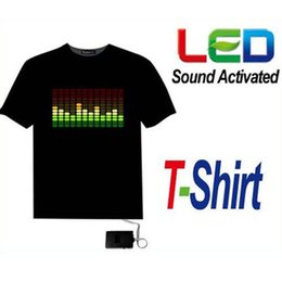 Wholesale Halloween Led Shirts - Wholesale- 2016 Sound Activated LED T Shirt Light Up Flashing Halloween Party EL LED T-Shirt Men For Rock Disco Party DJ DSQ Tshirt AA87
