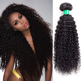 Wholesale Indian Remy Curly Wefts - Brazilian Curly Virgin Hair Wefts 1 Bundles Natural Black Peruvian Indian Brazilian Kinky Curly Virgin Human Hair Extension Can Be Dyed