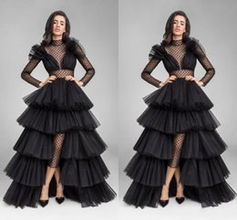 Wholesale High Low Sheer Waist - Sexy Black Illusion Formal Evening Dresses Ruffle Tulle High Low High Neck Long Sleeve Waist Cut Prom Evening Gowns Dresses Evening Wear