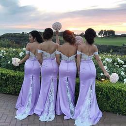 Vestidos de dama de honra de renda on-line-Elegante Sereia De Lavanda Dama de Honra Vestidos de Renda Branca Fora Do Ombro Sem Encosto Dama De Honra Vestidos de Casamento Formal Vestido de Festa Custom Made