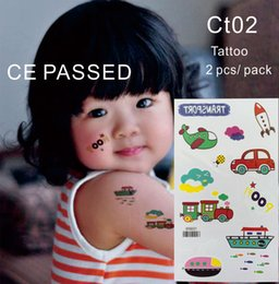 Wholesale Body Rocket - CT02 Children Temporary Tattoo Non toxic and with CE certificate Car Bus Plane Rocket Train Vehicle Body Tattoos Sticker