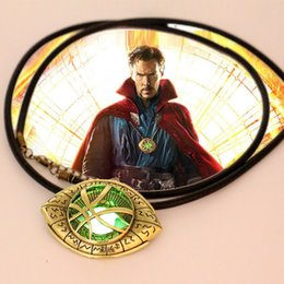 Wholesale Leather Pendant Cords - Newest Doctor Strange Necklace Glow in Dark Eye Shape Antique Bronze 6cm*4.3cmPendant with Leather Cord Movie Cosplay Jewelry Pow84