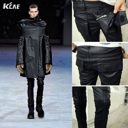 Wholesale Waxed Coated Jeans - Wholesale-Brand Men's Fashion Runway Waxed Shiny Coated Stretch Slim Black Biker Washed Jeans Size M-2XL Slim fit black skinny jeans men