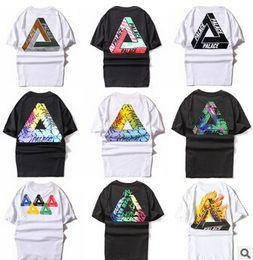 Wholesale T Shirt Couples Black - Hot Sale Summer Mens PALACE T-Shirt Crew Neck Tees White Black Skateboards Sport Shirt Women Triangle Print Short Sleeve Cotton couple Tee