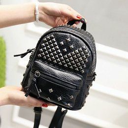 Wholesale Korean Back Packs - Wholesale- Women Mini Backpacks PU Leather Riveting Casual Bags Classical Teenagers Fashion Travel Rivet Back Pack Bag Korean Style WH0142
