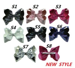 Wholesale New Hair Clips Style - 7.5 cm Bowknot Print White Artificial Leather Head Clip JOJO new style princess dance hairflower Girl headdress baby hairpin L205