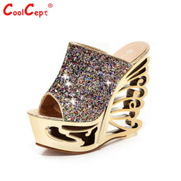 Wholesale Ladies Sexy Leather Sandals Wedge - Wholesale- CooLcept free shipping quality wedge sandals platform women sexy fashion lady female shoes P14498 hot sale EUR size 34-39