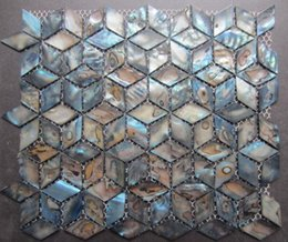 Wholesale Pearl Tile Backsplash - Blue Rhomb Geometric Backsplash Mother of Pearl Shell Mosaic Tiles