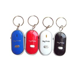 Wholesale keychain whistle locator - High Quality 1PC White LED Key Finder Locator Find Lost Keys Chain Keychain Whistle Sound Control