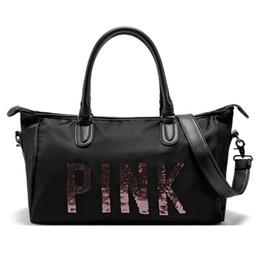 Wholesale Womens Pink Bag - 2017 New Arrival Womens Black Pink Duffel Bags Travel Waterproof Handbags Luggage Travel Bag Yoga Bag Folding Bags free shipping