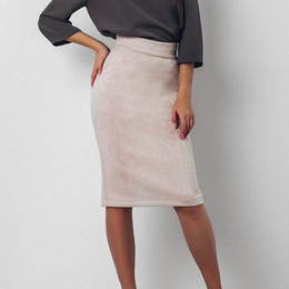 Wholesale Cheap Maxi Dresses For Women - Short Knee Length Maxi Pencil Skirt Women Casual Slim High Waist Bodycon Skirt Saias Femininas Skirts Cheap Dress for Girls FS3009