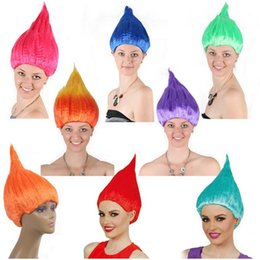 Wholesale Wigs For Halloween Costumes - Trolls Wig Cosplay Wig Halloween Wigs Colorful Troll Costume Hair Unisex Halloween Cosplay Decorations for Children and Adults