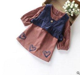 Wholesale Dress Set Girls Heart - Girls outfits children round collar lantern sleeve love-heart printed dress+waistcoat 2pcs sets Autumn princess girls clothing G0922